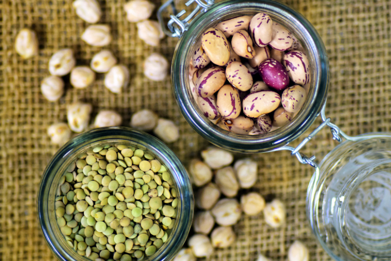 Beans and legumes in jars